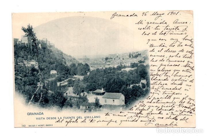 GRANADA.- ( ALHAMBRA ).- VISTA DESDE LA FUENTE DEL AVELLANO. HAUSER Y MENET (Postales - España - Andalucía Antigua (hasta 1939))