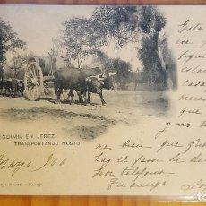 Postales: POSTAL JEREZ DE LA FRONTERA CADIZ VENDIMIA TRANSPORTANDO MOSTO SELLO DEL PELON 1900. Lote 122811311