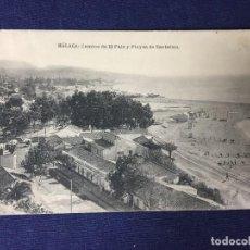 Postales: POSTAL MALAGA CAMINO DE EL PALO Y PLAYAS DE SANTELMO FOTOTIPIA HAUSER Y MENET ESCRITA CIRCULADA. Lote 130308682