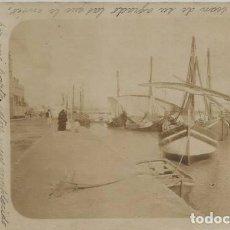 Postales: POSTAL FOTOGRAFICA ANTIGUA PUERTO DE SEVILLA ? BARCAS CON VELAS SIN DIVIDIR ANIMADA 1902. Lote 130382766