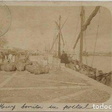Postales: POSTAL FOTOGRAFICA ANTIGUA PUERTO DE SEVILLA ? TONELES Y BARCAS SIN DIVIDIR ANIMADA 1902. Lote 130383022