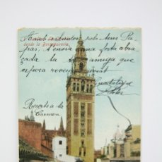 Postales: ANTIGUA POSTAL - SEVILLA / LA GIRALDA DESDE LA BORSEQUIRERIA - EDIT. ÁBELARIO LINARES - AÑO 1923. Lote 130905013
