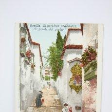 Postales: ANTIGUA POSTAL - SEVILLA / COSTUMBRES ANDALUZAS, LA FUENTE DEL PUEBLO - EDIT. PURGER & CO. Lote 130905867