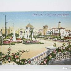 Postales: ANTIGUA POSTAL COLOREADA - SEVILLA / PLAZA DE LOS CONQUISTADORES - EDIT. C.R.S. Lote 130905915