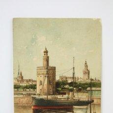 Postales: ANTIGUA POSTAL ILUSTRADA - SEVILLA / TORRE DEL ORO - EDIT. STENGEL & CO. Lote 130905935