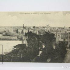 Postales: ANTIGUA POSTAL - CÁDIZ /ALAMEDA DE APODACA Y BAÑOS DEL CARMEN. Lote 130905999