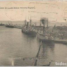 Postales: POSTAL CADIZ MUELLE REINA VICTORIA EUGENIA BUQUES CENSURA MILITAR SOLLER 1939 MALLORCA ED. UHL. Lote 133544174