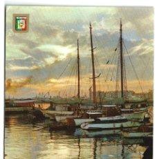 Postales: MALAGA ATARDECER EN EL PUERTO Nº 37 L. DOMINGUEZ - SIN CIRCULAR - AÑOS 60-70. Lote 134753478