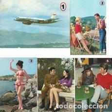 Postales: LOTE DE 5 POSTALES TEMAS VARIOS AÑOS 70. Lote 135470446