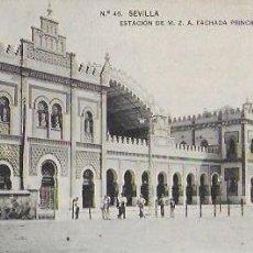 Postales: P- 8898. POSTAL SEVILLA, ESTACION DE M.Z.A. FACHADA PRINCIPAL. N º46. . Lote 136458486