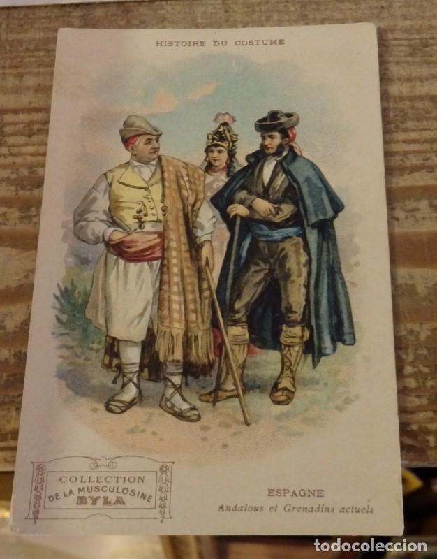 ESPAÑA. GRANADA. TIPOS ANDALUCES Y GRANADINOS. PUBLICIDAD FARMACIA MUSCULOSINE BYLA (Postales - España - Andalucía Antigua (hasta 1939))