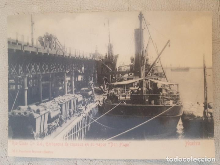 POSTAL DE HUELVA. RIO TINTO CO. LD., EMBARQUE DE CASCARA EN SU VAPOR. DON HUGO. ED. LUNWERG. (Postales - España - Andalucía Antigua (hasta 1939))