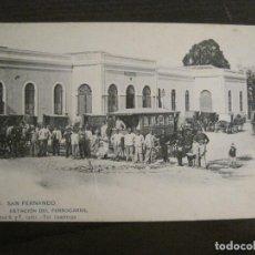 Postales: SAN FERNANDO-ESTACION FERROCARRIL-FOT·CEMBRANO-HAUSER Y MENET-REV SIN DIVIDIR-POSTAL ANTIGUA(54.986). Lote 142919590