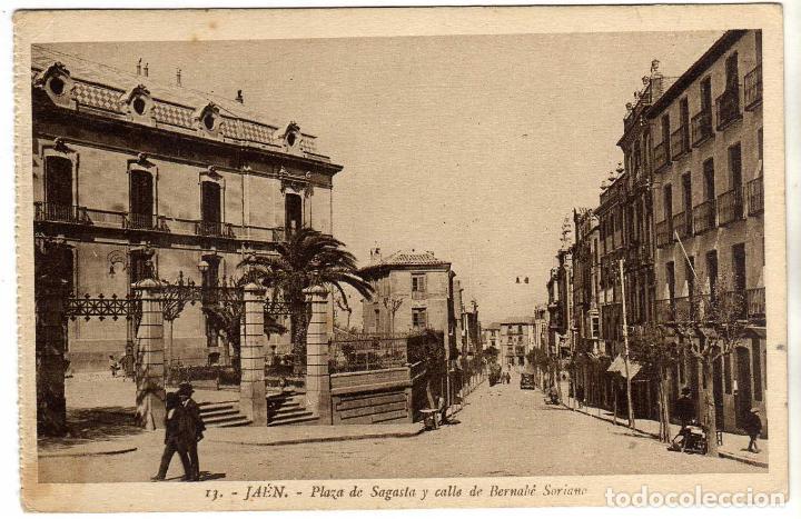 BONITA POSTAL - JAEN - PLAZA DE SAGASTA Y CALLE DE BERNABE SORIANO (Postales - España - Andalucía Antigua (hasta 1939))