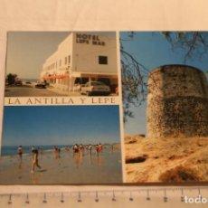 Postales: POSTAL LA ANTILLA LEPE Y TORRE DEL CATALAN Nº 23 ED ARRIBAS S/C (OPEL KADETT RENAULT SUPERCINCO). Lote 146888454