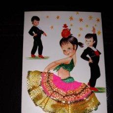 Postales: POSTAL DE NIÑOS. ANDALUCIA, INFANTIL. CARICATURA DE EL SI. BORDADA Y TELA. Lote 150064110