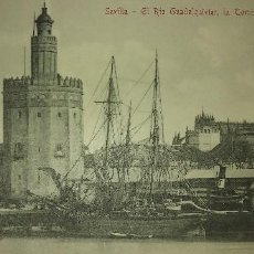 Postales: MUY ANTIGUA VISTA SEVILLA RIO PUERTO BARCOS TORRE CATEDRAL. Lote 151340614