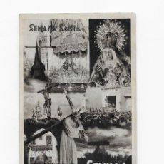 Postales: SEMANA SANTA SEVILLA - AÑO 1953 - POSTAL CON RELACIÓN DE NÚMERO DE COFRADIAS - ORIGINAL. Lote 150483970