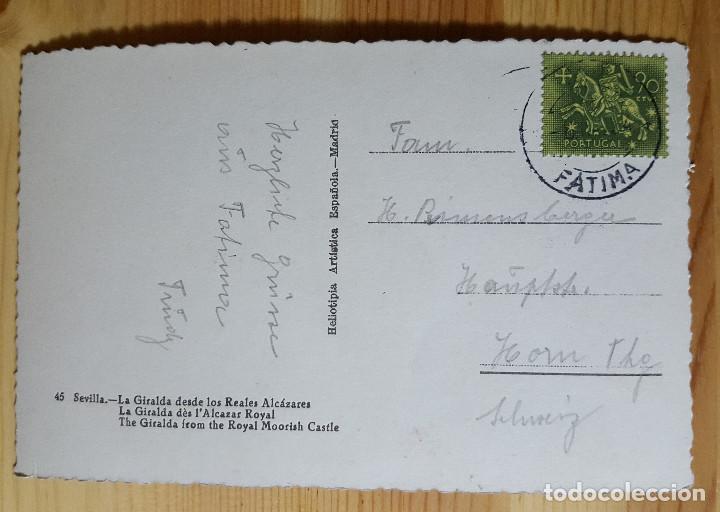 Postales: Sevilla Nº 45 La Giralda desde los Reales Alcazares Ed. Helioti. Arts. Espa. Matasellos Fatima - Foto 2 - 150790422