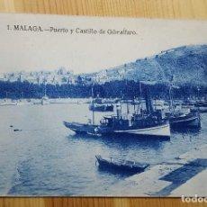 Postales: MALAGA Nº 1 PUERTO Y CASTILLO DE GIBRALFARO ED. GRAFOS. Lote 151162642