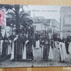 Postales: SEVILLA Nº 534 GRUPO DE NAZARENOS 1933 ED. MANUEL BARREIRO - ENVIADAAL CONGO BELGA - SELLO ALFONSO . Lote 151165410