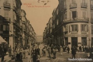 Málaga. Calle del Marqués de Larios. Hotel Victoria. Banco Hispano Americano