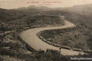 Málaga. Carretera a Granada. Postal antigua
