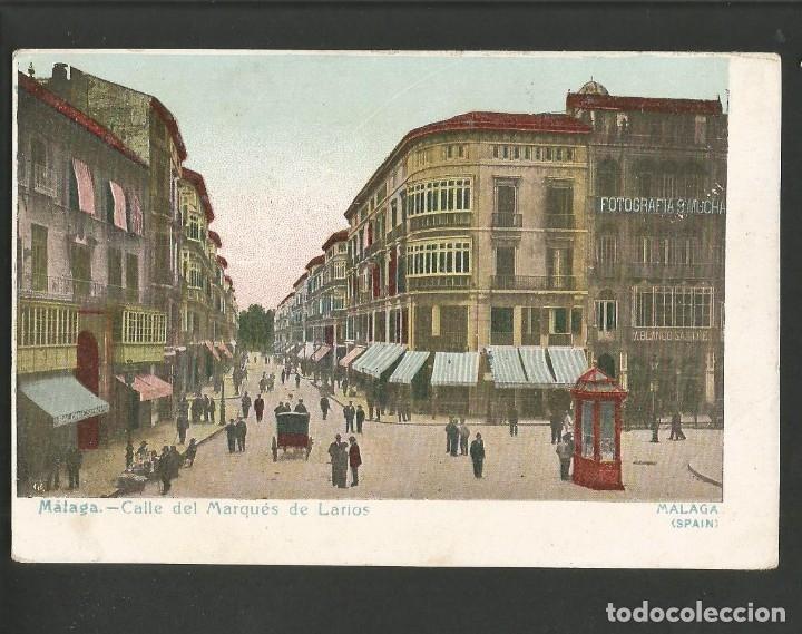 MALAGA-CALLE DEL MARQUES DE LARIOS-FOTOGRAFIA MUCHA-SASTRE-SALON ESPAÑA-POSTAL ANTIGUA-(57.469) (Postales - España - Andalucía Antigua (hasta 1939))