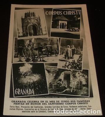 POSTAL DEL CORPUS CHRISTI DE GRANADA, HUECOGRABADO FOURNIER (Postales - España - Andalucia Moderna (desde 1.940))