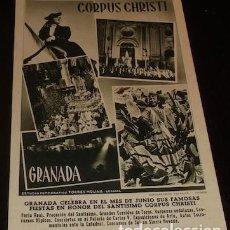 Postales: POSTAL DEL CORPUS CHRISTI DE GRANADA, HUECOGRABADO FOURNIER. Lote 154021770