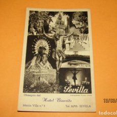 Postales: ANTIGUA TARJETA POSTAL DE SEVILLA SEMANA SANTA OBSEQUIO DEL HOTEL BIARRITZ HUECOGRABADO DE FOURNIER . Lote 155248894