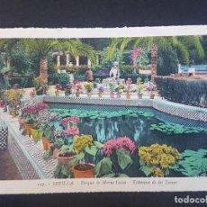 Postales: SEVILLA PARQUE MARIA UISA ESTANQUE DE LOS LEONES. Lote 155821714