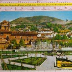 Postales: POSTAL DE GRANADA. AÑO 1962. JARDINES Y FUENTE MONUMENTAL DEL TRIUNFO. 2142. Lote 158669438