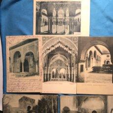 Postales: GRANADA. 6 VISTAS ALHAMBRA. CIRCULADAS 1900. Lote 160933373