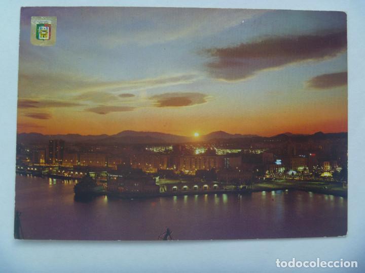 POSTAL DE MALAGA ( COSTA DEL SOL ): PUESTA DE SOL EN EL PUERTO (Postales - España - Andalucia Moderna (desde 1.940))