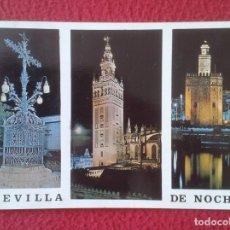 Postales: POSTAL POST CARD CARTE POSTALE SEVILLA SEVILLE DE NOCHE NIGHT ANDALUSÍA LA GIRALDA..TORRE DEL ORO.... Lote 165200022