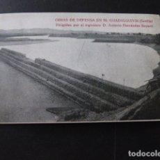 Postales: SEVILLA OBRAS DE DEFENSA EN EL GUADALQUIVIR INGENIEROS BIANCHINI BARCELONA. Lote 166101338