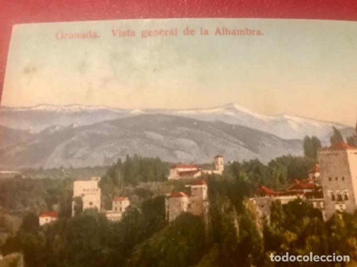 GRANADA VISTA GENERAL DE LA ALHAMBRA ANTIGUA POSTAL COLOREADA SIN CIRC COLORES BONITOS PURGER 5838 (Postales - España - Andalucía Antigua (hasta 1939))