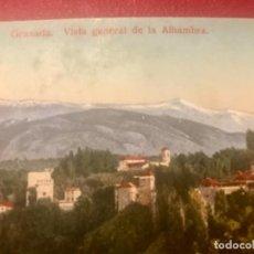 Postales: GRANADA VISTA GENERAL DE LA ALHAMBRA ANTIGUA POSTAL COLOREADA SIN CIRC COLORES BONITOS PURGER 5838. Lote 166219814
