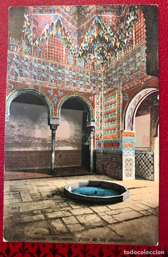 GRANADA PATIO DE LOS ABENCERRAJES ALHAMBRA ANDALUCIA ANTIGUA POSTAL COLOREADA PURGER 5822 EXCELENTE (Postales - España - Andalucía Antigua (hasta 1939))