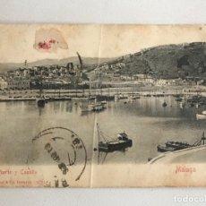 Postales: POSTAL DE MALAGA- PUERTO Y CASTILLO. STENGEL & CO.DRESDEN 1910'S. . Lote 166289378