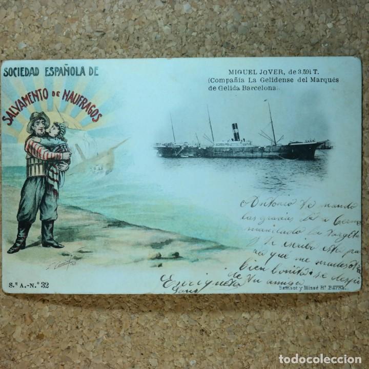 POSTAL SALVAMIENTO DE NAUFRAGOS N° 32, MIGUEL JOVER, SEVILLA, CIRCULADA EN FEBRERO DE 1903 (Postales - España - Andalucía Antigua (hasta 1939))