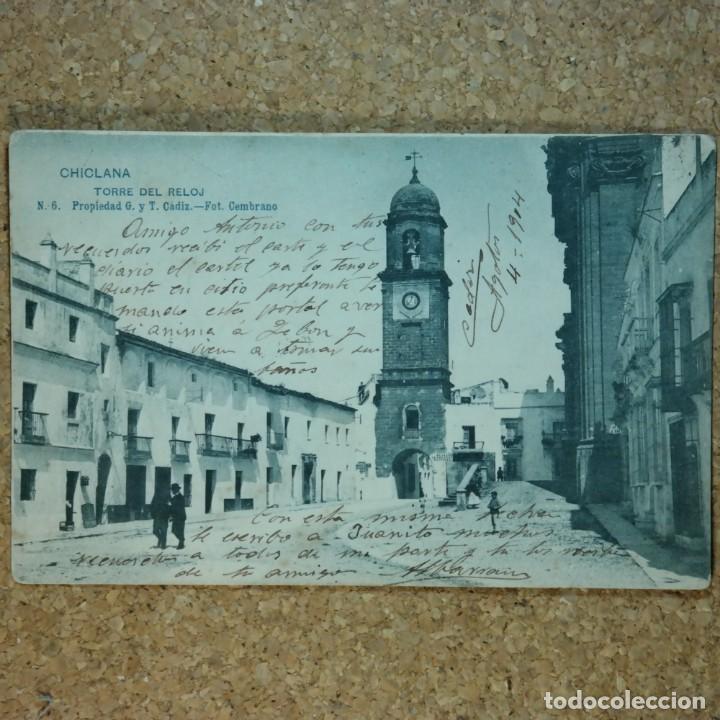 POSTAL CÁDIZ - CHICLANA, ESCRITA 4 DE AGOSTO 1904, CIRCULADA CÁDIZ A SEVILLA, TORRE DEL RELOJ (Postales - España - Andalucía Antigua (hasta 1939))