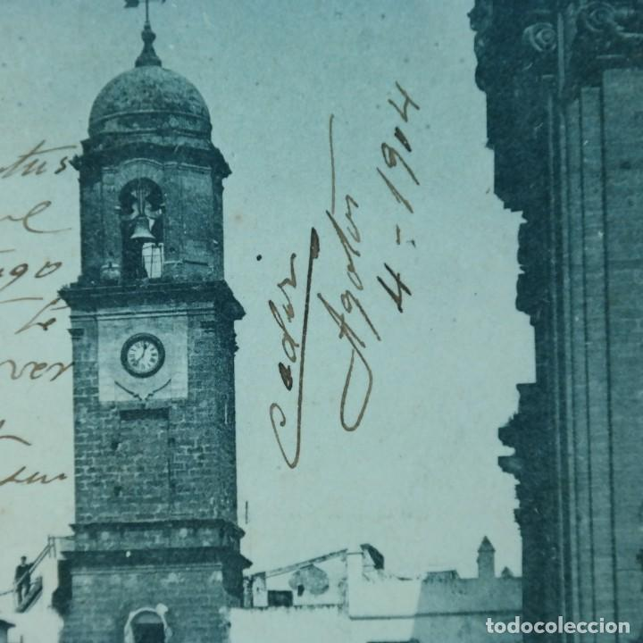 Postales: Postal Cádiz - Chiclana, escrita 4 de agosto 1904, circulada Cádiz a Sevilla, Torre del reloj - Foto 2 - 166581278