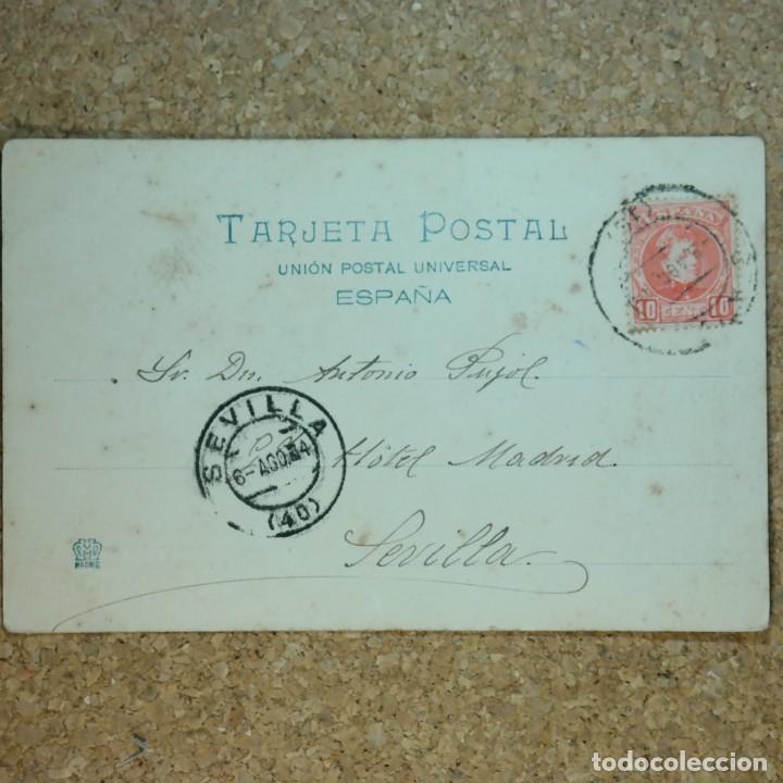 Postales: Postal Cádiz - Chiclana, escrita 4 de agosto 1904, circulada Cádiz a Sevilla, Torre del reloj - Foto 3 - 166581278