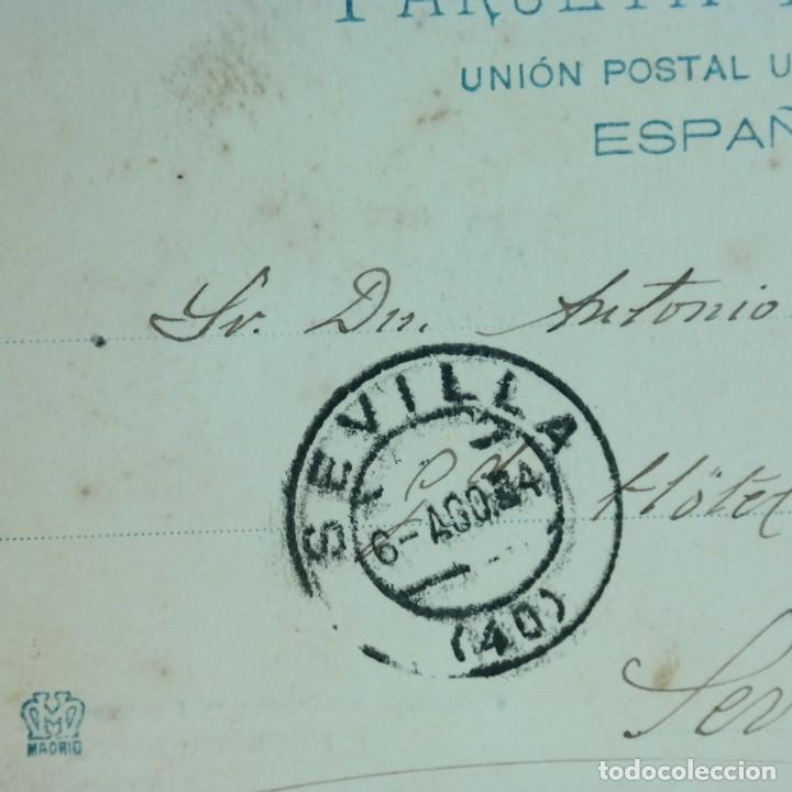 Postales: Postal Cádiz - Chiclana, escrita 4 de agosto 1904, circulada Cádiz a Sevilla, Torre del reloj - Foto 4 - 166581278