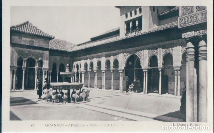 POSTAL GRANADA - ALHAMBRA - PATIO DE LOS LEONES - ROISIN 90 - ESCRITA (Postales - España - Andalucía Antigua (hasta 1939))