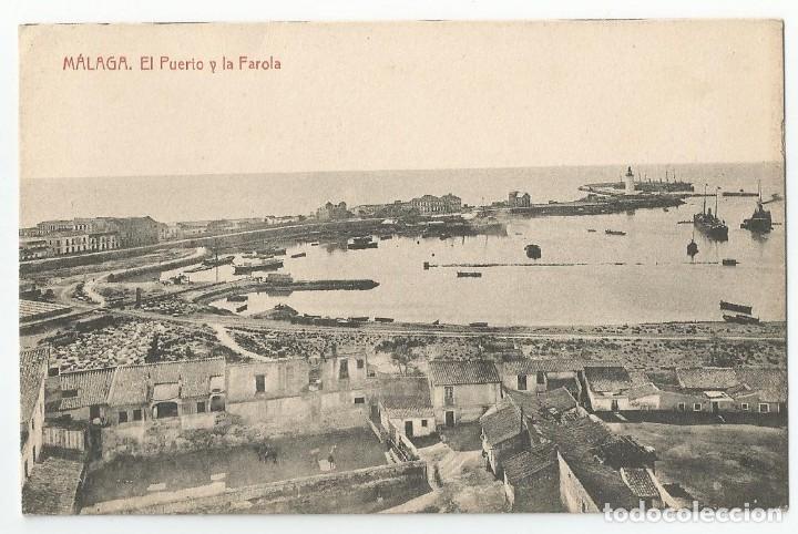 POSTAL DE MALAGA FOTOTIPIA THOMAS DE BARCELONA - EL PUERTO Y LA FAROLA- SIN CIRCULAR (Postales - España - Andalucía Antigua (hasta 1939))
