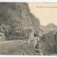 Postales: 2 POSTALES DE MALAGA FOTOTIPIA THOMAS-EL CHORRO FALLA CHICA Y EL CHORRO PUENTE Y TUNEL- SIN CIRCULAR. Lote 167856528