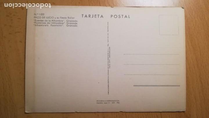 Postales: POSTAL GRANADA FUENTES DE LA ALHAMBRA.PACO DE LUCIO Y SU FIESTA BALLET - Foto 2 - 168265920